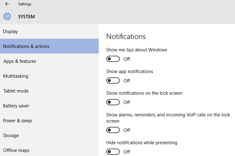 windows 10 notifications actions
