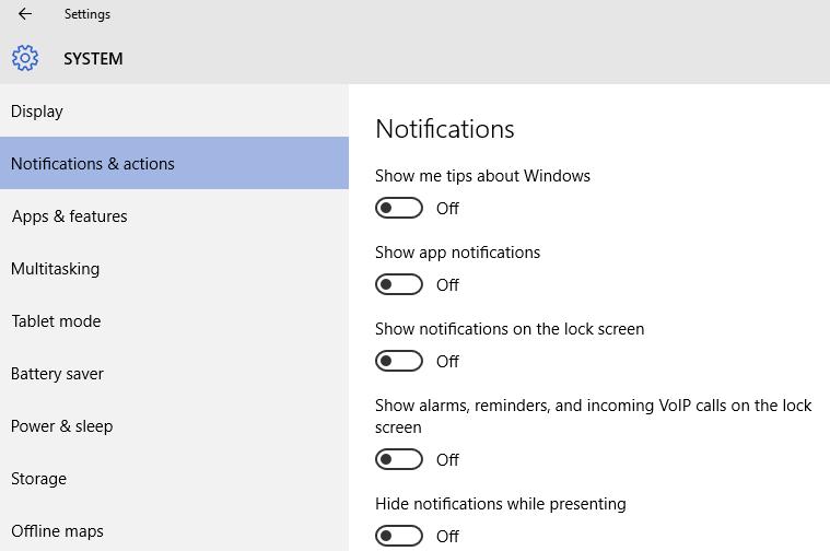notificaciones windows 10 rendimiento